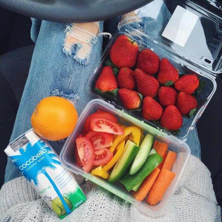 annietarasova: Snacks for a short day of uni tomorrow - veggies, strawberries and coconut water   Instagram: @annietarasova