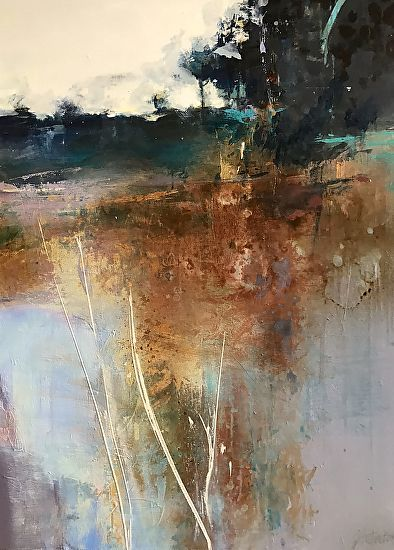 """Daily Painters Abstract Gallery: Contemporary Abstract Landscape Painting """"Serenity"""" by Intuitive Artist Joan Fullerton"""