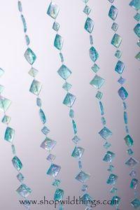 """Beaded Curtain """"Mackenzie"""" - Iridescent Powder Blue - Flat Diamonds"""