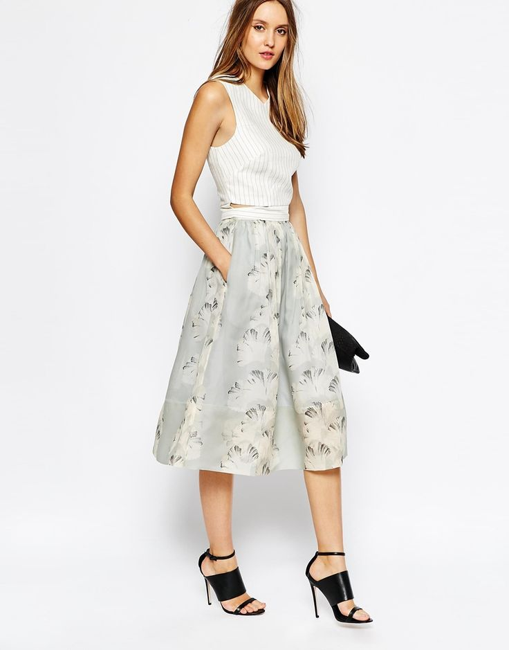 Image 1 ofWhistles Skirt in Palm Print Organza