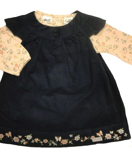 Lovely detailed cord pinafore dress with matching long sleeved bodysuit by Max and Tilly  Made from cord cotton/elastane  Machine washable  Available in navy or pink