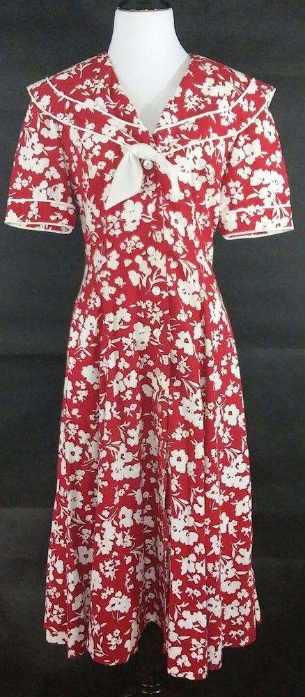 80s Vintage Womens Dress 10/12 Floral Sailor Tea Garden Red White Fit Flare Midi #Unknown #TeaDress