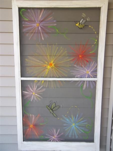 Flowers & Bugs Painted Vintage Window Screen I just finished $30