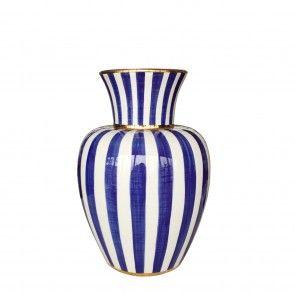 Vaso anfora in ceramica a righe blu e profili oro Este Ceramiche