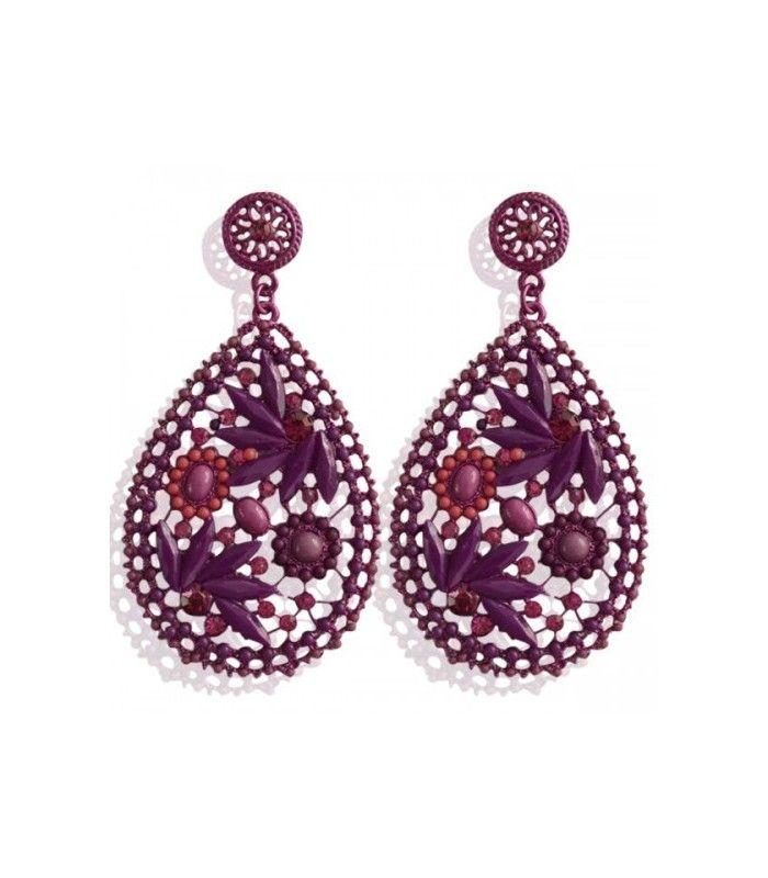 Paarse ovale oorbellen met paarse strass steentjes