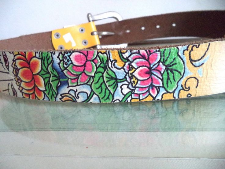 ED HARDY unisex BELT floral silver Dedicated Med SMALL EH314 leather AUDIGIER