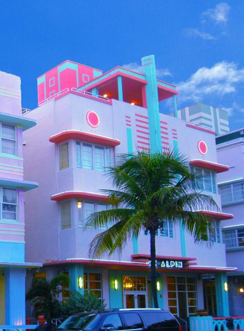 Miami Art deco - palm and bright pastels                                                                                                                                                                                 More