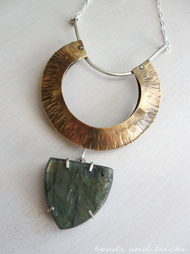 Nu-gold (red brass), sterling silver and labradorite necklace. Foldforming. This pic doesn't show the magical sparklings of the stone | Handmade by Beads and Tricks