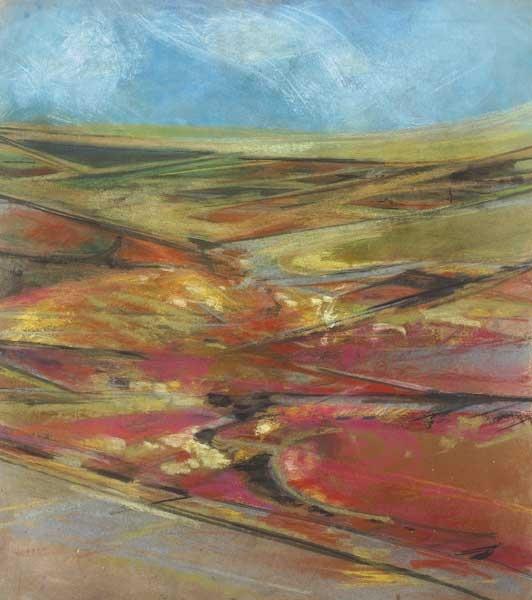 Erskine McAleer. Red landscape. Oil pastel.