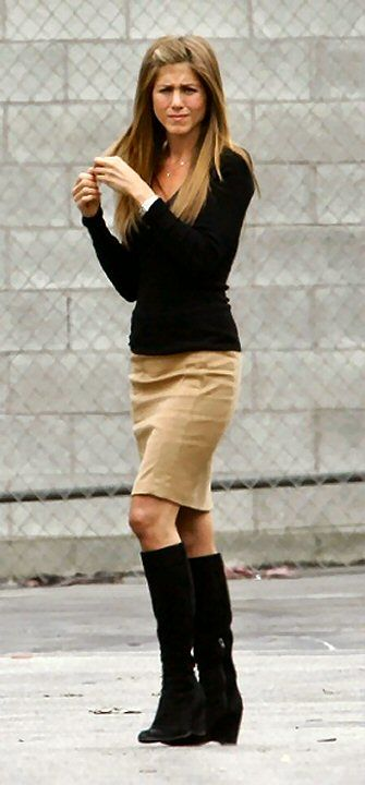 tan pencil skirt - black boots.                                                                                                                                                      More
