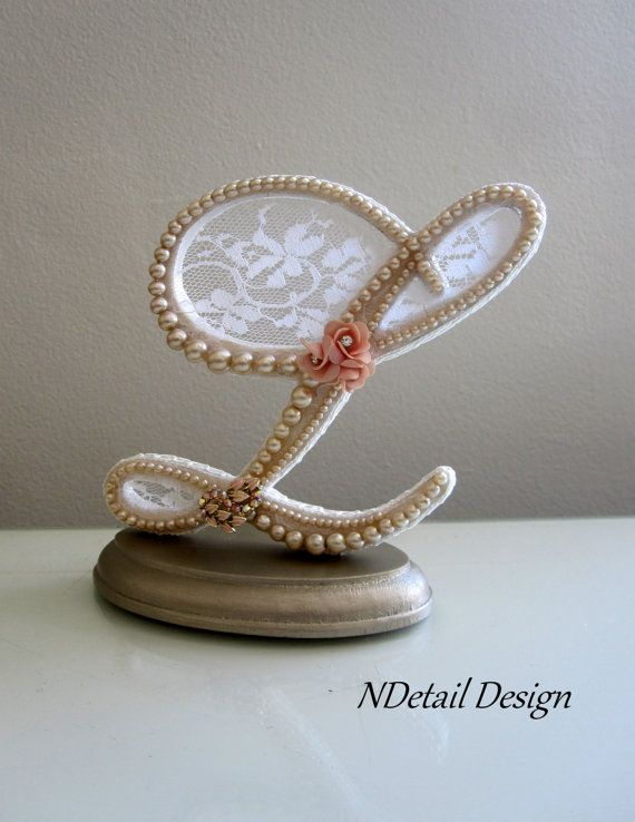 Wedding Cake Topper & Display : Monogram Pearl Letter L in Ivory, White and Blush Pink for Vintage or Shabby Chic Wedding on Etsy, $110.99