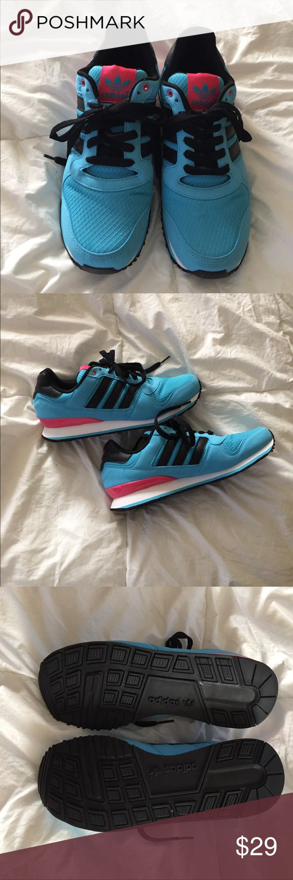 ADDIDAS ZXZ adidas womens zxz wlb 2.0 athletic blue/black/pink shoe. Purchased for daughter wore them once. Time to sell! True to size. adidas Shoes Athletic Shoes