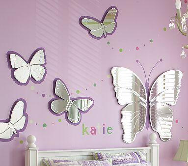Stunning purple butterflies #kidsroom #mirrorsforkids #mirrordesign Find more inspirations at www.kidsroomideas.net