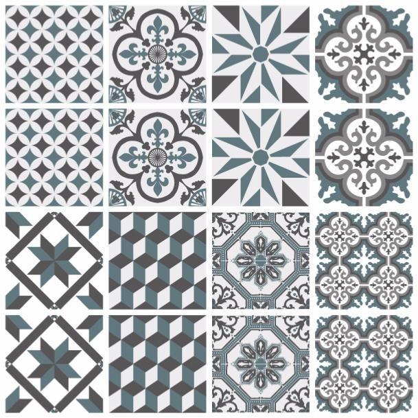 sticker carreaux de ciment ginette bleu gris sophie sticker carreaux de ciment carreau. Black Bedroom Furniture Sets. Home Design Ideas