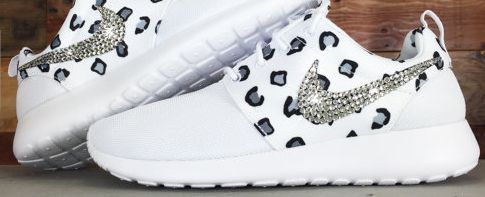 2015 Rhinestones Shoes Bling Nike Roshe Run Glitter Kicks - Blinged Nikes White Black White