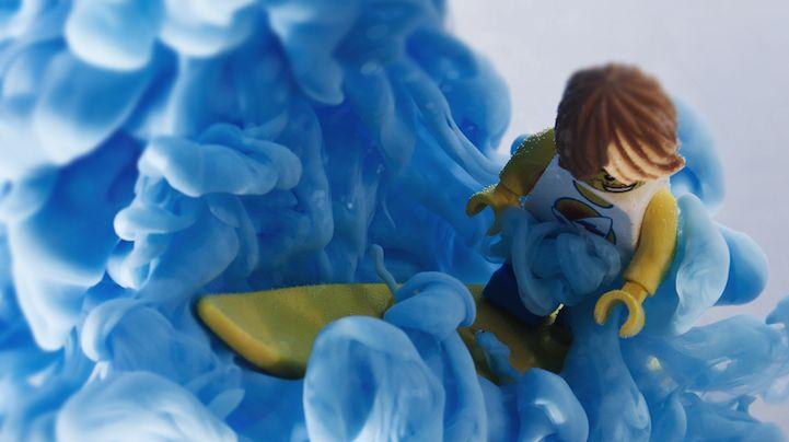Lego Surfer Rides Swirling Blue Ink Waves - My Modern Metropolis