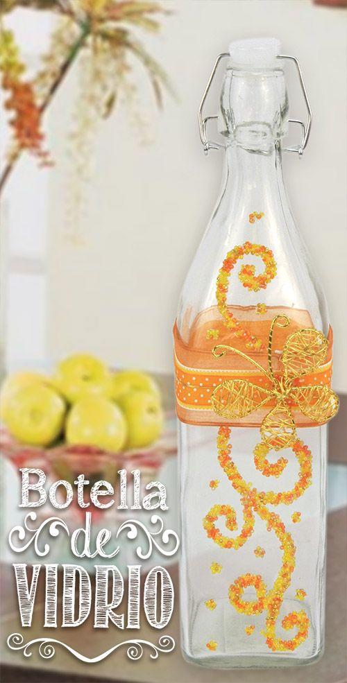 Botella de vidrio decoraci n para fiesta de xv a os for Decoracion hogar naranja