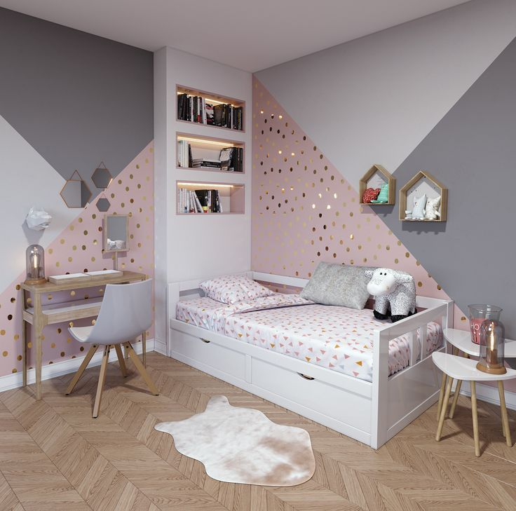 Childrens room contemporary pink white beige wood
