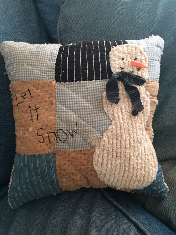 "Snowman Pillow made from Vintage Quilt -""Let it Snow"""