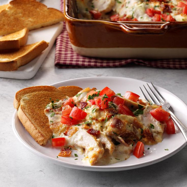 Hot Brown Turkey Casserole Recipe -If you've ever tried the Hot Brown Sandwich at the Brown Hotel in Louisville, Kentucky you'll love this version. It can be assembled ahead and refrigerated; just adjust baking time accordingly if cold. —Diane Halferty, Corpus Christi, Texas