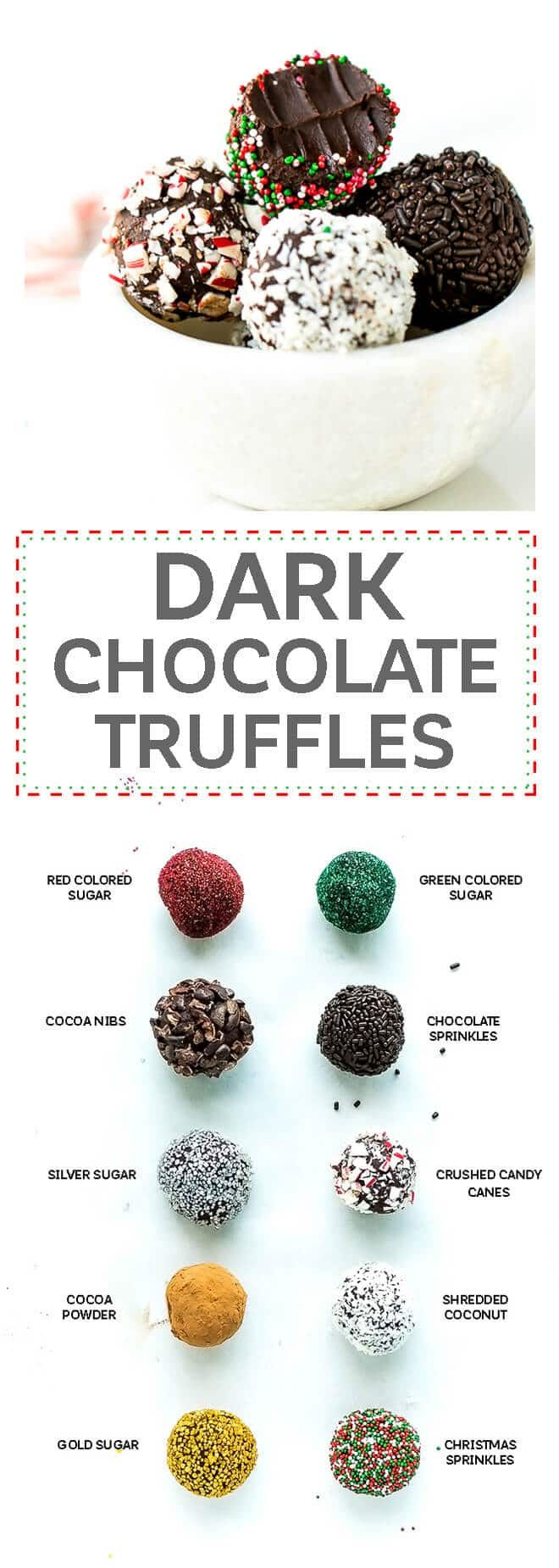 Dark Chocolate Peppermint Truffles Recipe - just 3 simple ingredients + sprinkles and mint ectract. These truffles are easy to make and perfect for an edible gift around the holidays. via @cookinglsl