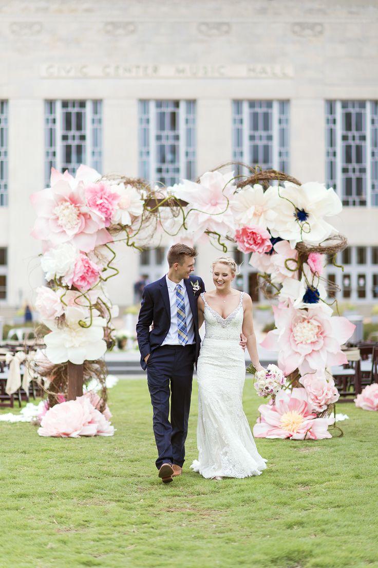 Oversized Paper Flower Wedding Arch | Ely Fair Photography | Civic Center Wedding | Oklahoma & Destination Wedding Photographers