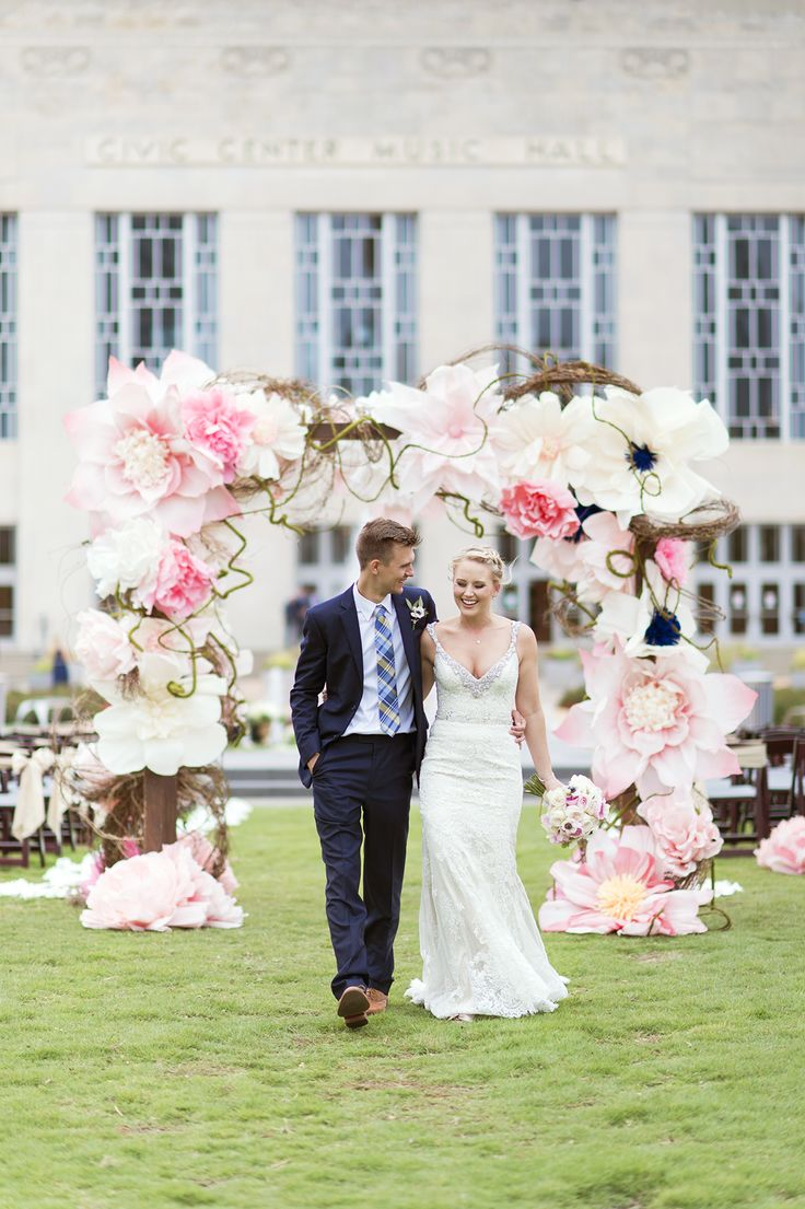 Oversized Paper Flower Wedding Arch | Ely Fair Photography | Civic Center Wedding | Oklahoma & Destination Wedding Photographers