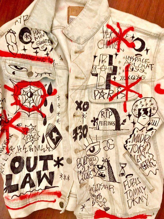 1d0df8d7f30f Desinger war custom jean jacket style 3 pm your size after   Etsy ...