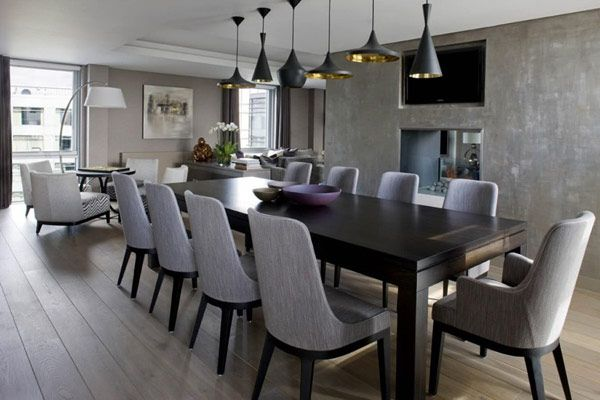 Love this dining room and the cool light fixture with each piece being a different shape.