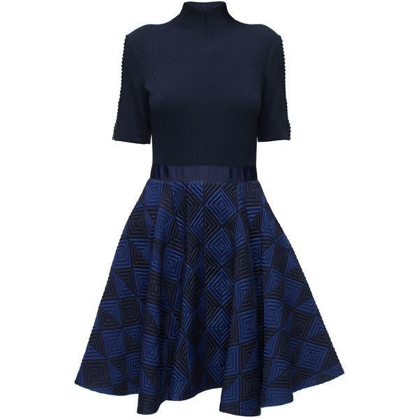 LATTORI Blue New Look, Knee-Length Dress found on Polyvore featuring dresses, blue dress, turtleneck tops, knee high dresses, blue knee length dress and turtleneck dress