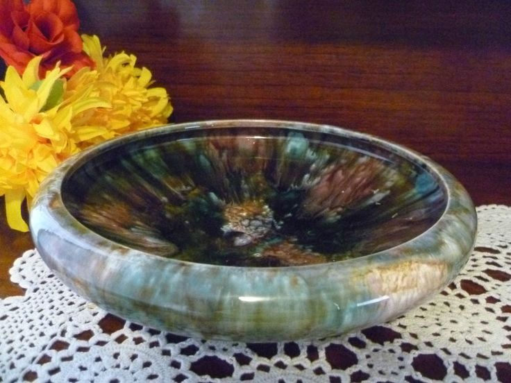 7cm early australian regal mashman pottery large round float bowl 1930 s