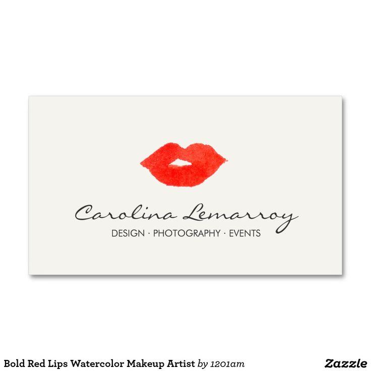 Artista de maquillaje rojo intrépido de la tarjetas de visita