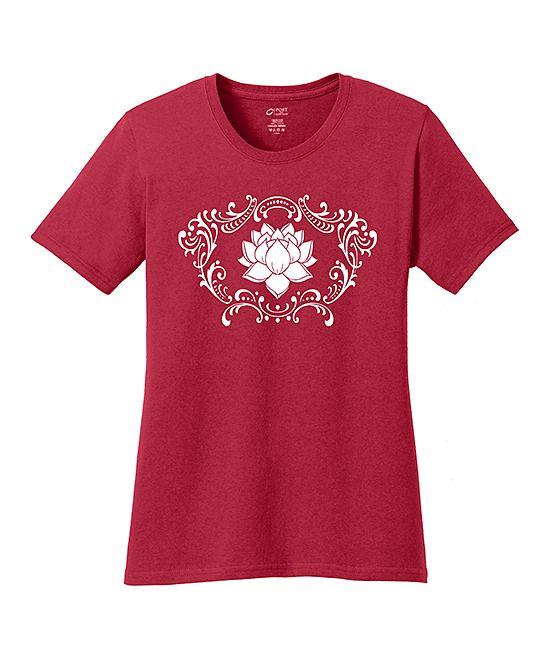 Red & White Lotus Crewneck Tee