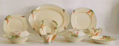 BURLEIGH WARE ART DECO 1930'S ZENITH LUPIN DINNER SERVICE, 37 pieces. Worthpoint/eBay