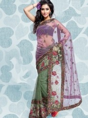 Embroidered sarees:- light purple and light mahendi coloured net saree flaunt a lovely image,light purple blouse adds zing to the saree,maroon flowerish work in saree,small beads in full saree,multi coloured border line in saree,this designer saree is perfect for wedding and evening party.  $45.47 matwali.com