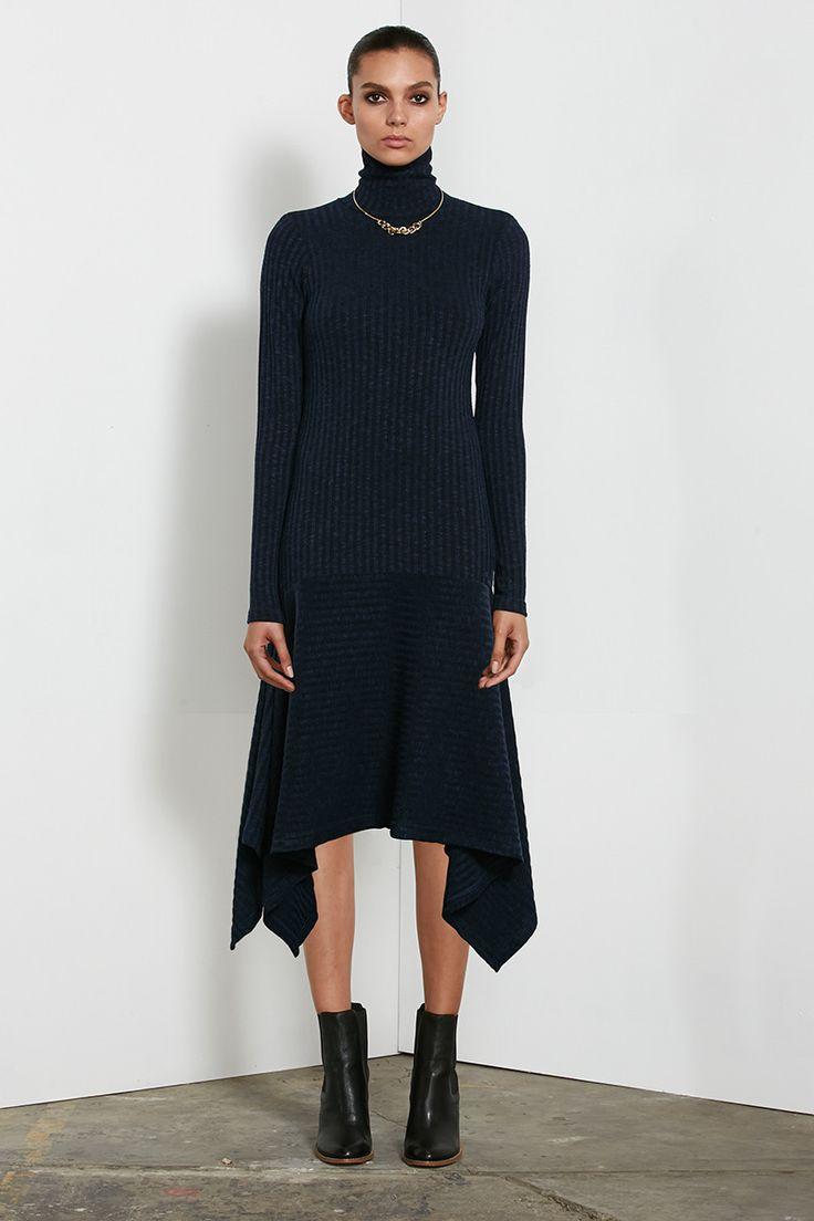 Shona Joy - Colette Rib Knit Turtle Neck Long Sleeve Handkerchief Dress In Navy
