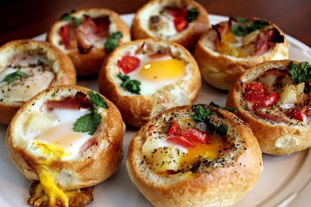 Eggs in bread bowls.