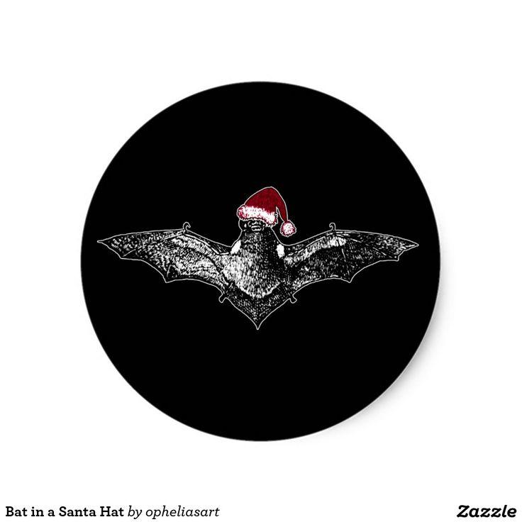 Schläger in einer Weihnachtsmannmütze Runder Aufkleber
