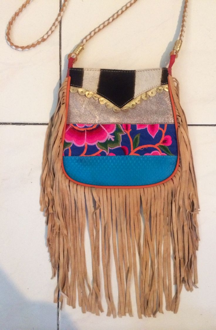 Fringed leather patchwork bag at Neon Gypsy