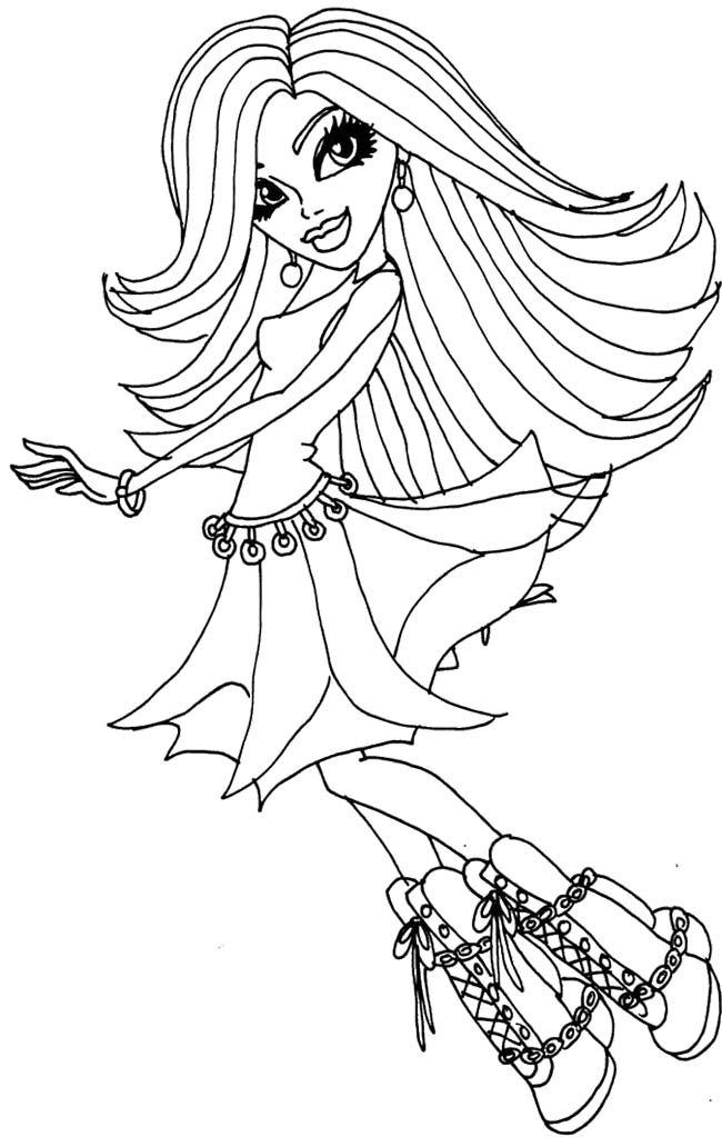 Monster High Spectra Vondergeist Dancing Coloring Page