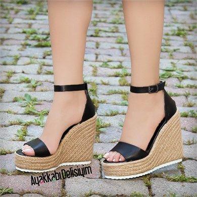 Monter Siyah Hasır Dolgu Topuk Sandalet #hasır #topuklu #heels #espadrille