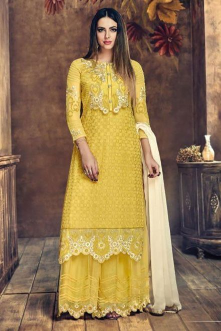 9fdc3e6c66 Bloom Net Designer Palazzo Suit in Yellow | Diwali Dresses 2018 ...
