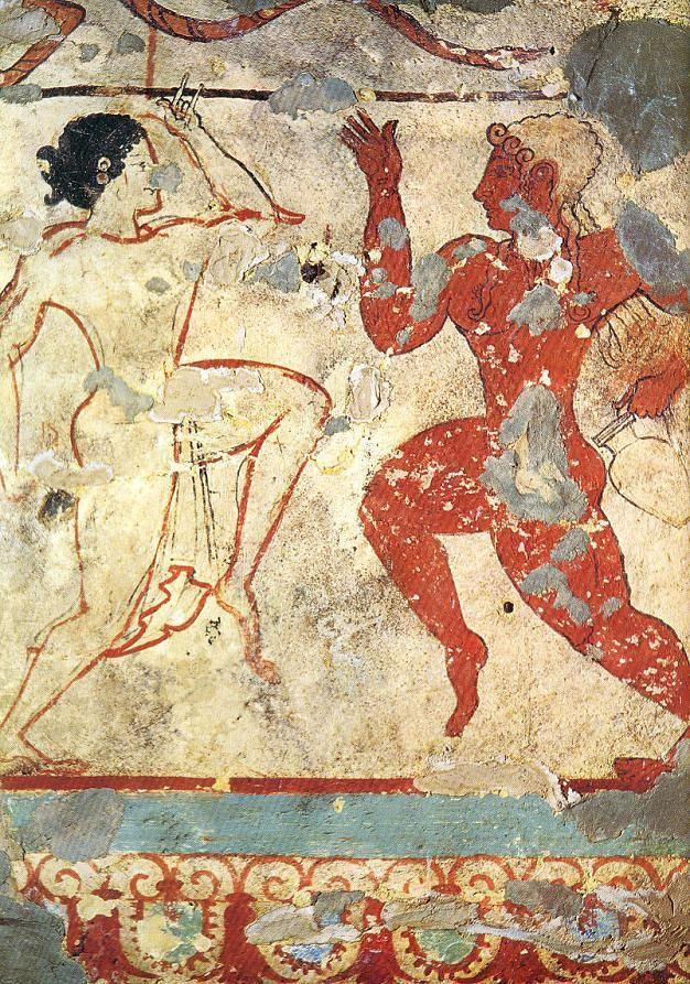 Fresco de la tumba de los leones necrópolis de  Tarquinia