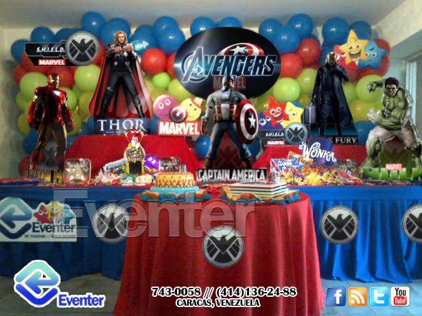 Organizacion De Fiestas Infantiles Decoracion Y Animacion Para Fiestas Mesa De Fantasia Vengado Avenger Birthday Party Avengers Birthday 1st Birthday Parties