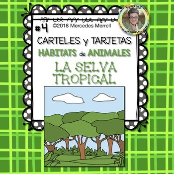 This is set #4 of a Growing Bundle: ANIMAL HABITATS Posters and Cards for the FARM OCEAN DESERT MOUNTAIN FOREST SAVANNA RAINFOREST and POLAR REGIONS in SPANISH titled: ¡Paquetón! CARTELES y TARJETAS Hábitats de Animales en la GRANJA SABANA