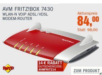 Cyberport: Fritzbox 7430 für 84 Euro frei Haus dank Gutschein https://www.discountfan.de/artikel/technik_und_haushalt/cyberport-fritzbox-7430-fuer-84-euro-frei-haus-dank-gutschein.php Unter den neuen Cyberdeals der Woche ist die Fritzbox 7430 ab sofort zum Schnäppchenpreis von 84 Euro frei Haus zu haben – andere Onlineshops verlangen für den WLAN-Router mindestens 97 Euro. Cyberport: Fritzbox 7430 für 84 Euro frei Haus dank Gutschein (Bild: Cyberport.de) Die Fritz