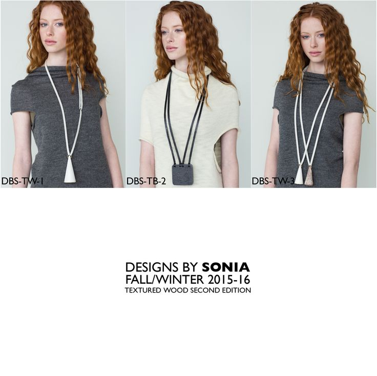 Textured wood and leather necklaces, Designs By Sonia