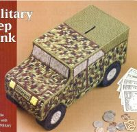 Free Plastic Canvas Military Patterns | Military Jeep Bank Plastic Canvas Pattern RARE | eBay