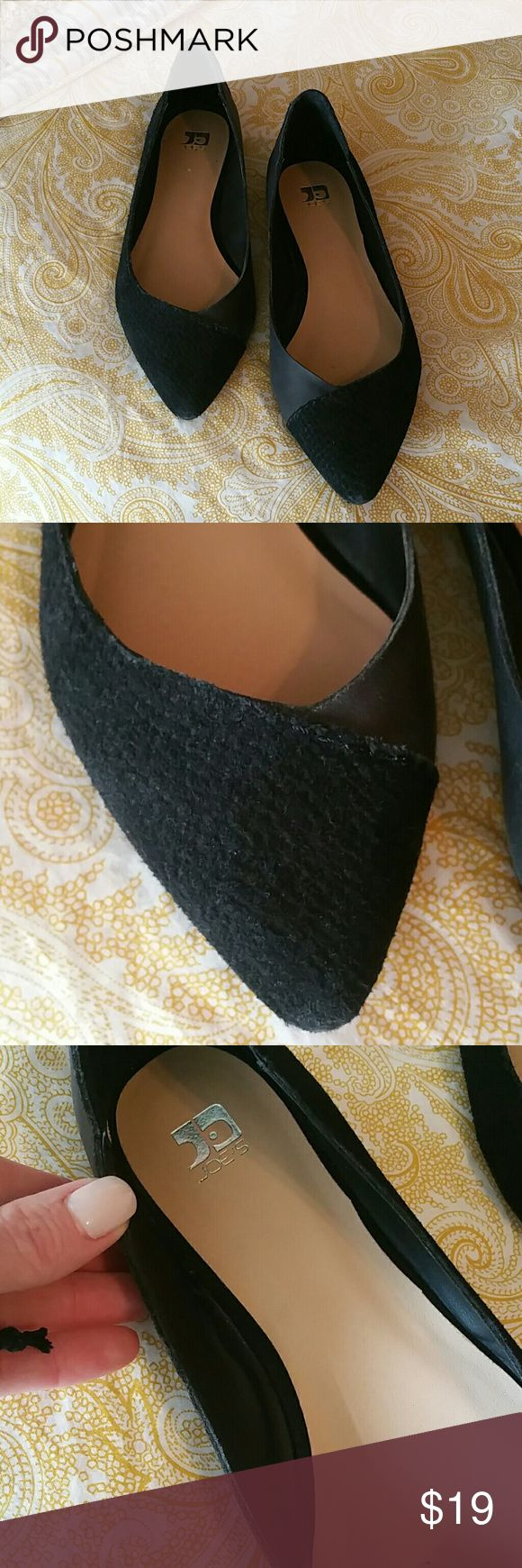 JOE's JEANS super cute black leather flats size 8 Smooth and suede leather mixed to create a unique comphy flat.  Great condition, wear with skinnys cuffed or office attire, u will love these Joe's Jeans Shoes Flats & Loafers