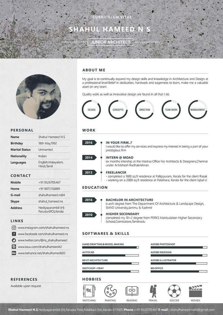 135 best creative cv images on pinterest resume design for Cv template for architects